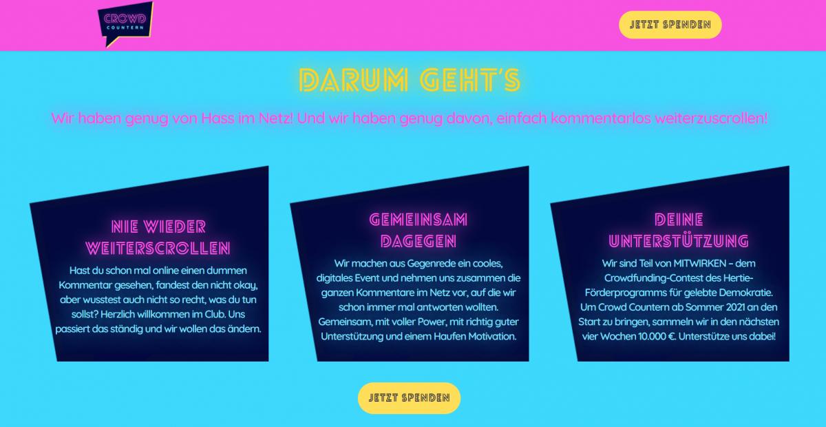 Farbenfroh und Mutig - Das alte Crowd Countern Design auf unserer Homepage ist nun Vergangenheit