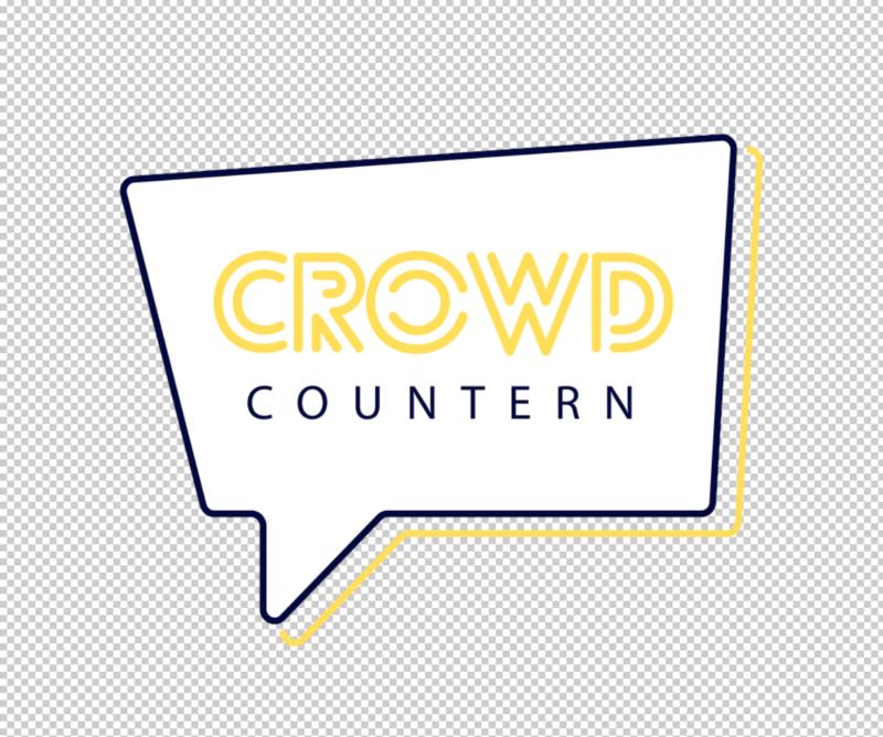 """Das Bild zeigt das Crowd-Countern Logo. Auf transparentem Hintergrund steh in einer Sprechblase in dunkelblauer Schrift """"Crowd Countern"""" geschrieben."""